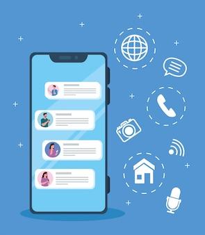 スマートフォンの人々のオンラインチャットメッセージ、デジタル通信をオンラインでチャット、ソーシャルメディアの概念