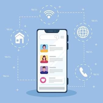 スマートフォンの若者のオンラインチャットメッセージ、デジタル通信をオンラインでチャット、ソーシャルメディアの概念