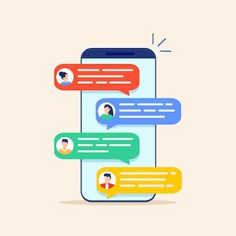 휴대폰에서 온라인 채팅 메시지 문자 알림.