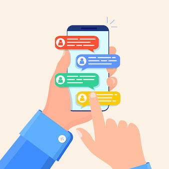 Online chat messages text notification on phone