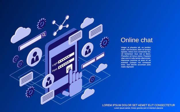 온라인 채팅, 웹 포럼, 토론 평면 아이소메트릭 벡터 개념 그림