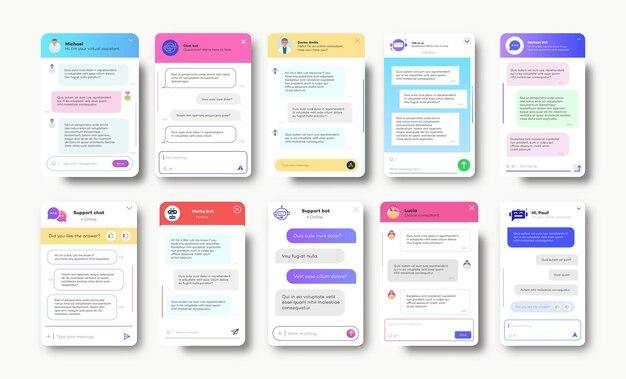 Окна онлайн-чата для веб-сайтов и мобильных приложений, изолированных на белом фоне социальных