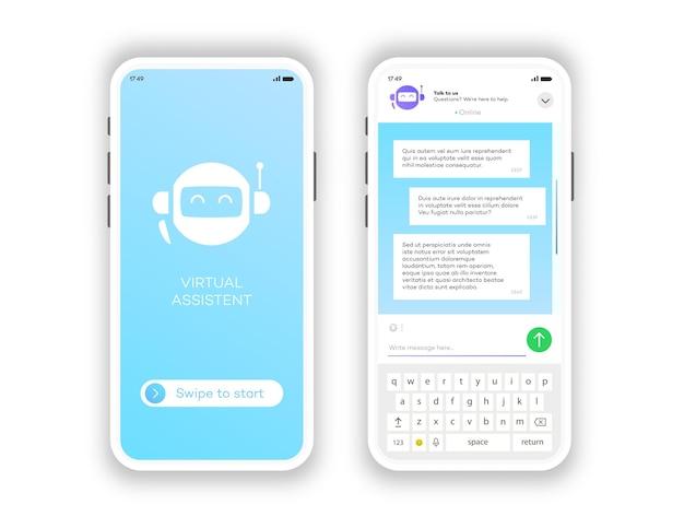 온라인 채팅 창 모바일 앱 세트 흰색 배경에 고립. 소셜 커뮤니케이션 채팅. 그룹 문자 메시지 앱. 벡터 10 eps