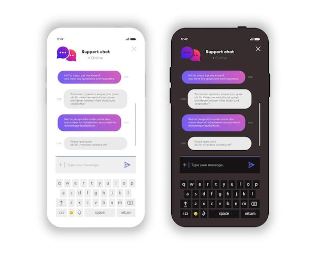 온라인 채팅 창 모바일 앱은 흰색 배경에 격리된 흰색 및 어두운 테마를 설정합니다. 소셜 커뮤니케이션 채팅. 그룹 문자 메시지 앱. 벡터 10 eps