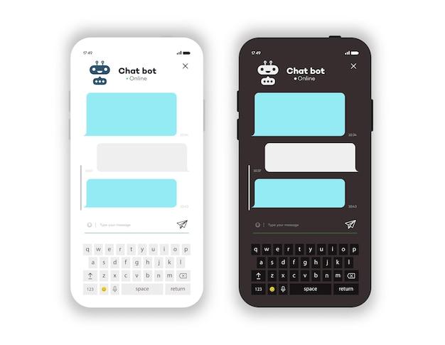 온라인 채팅 창 모바일 응용 프로그램 흰색과 어두운 테마 흰색 배경 사회에 격리
