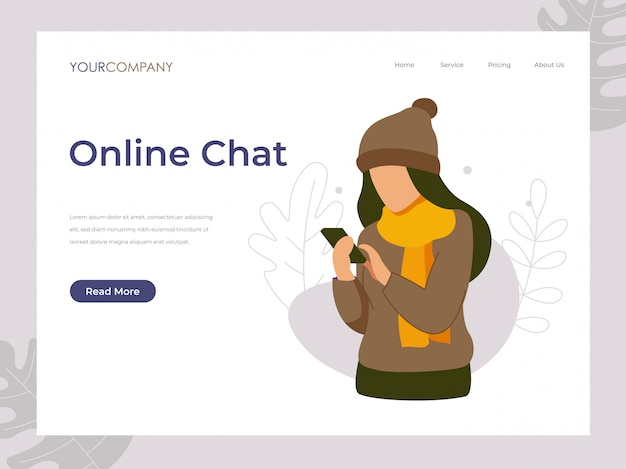 Online chat woman texting