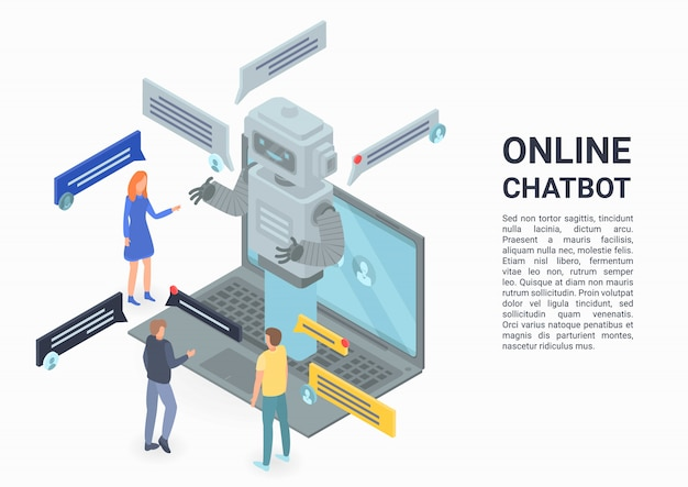 Online chatbot concept banner, isometric style