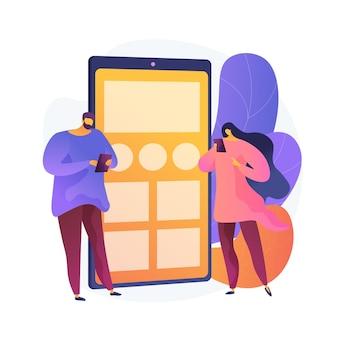 온라인 채팅 앱. 인터넷에서 통신하는 만화 캐릭터. 가제트 중독, 블로깅, 게시. 현대 디지털 기술 디자인 요소.