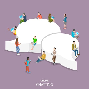 Online chatting flat isometric  .