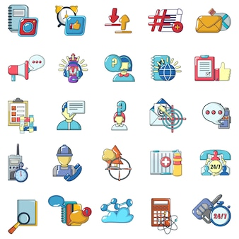 Online chatting icons set, cartoon style
