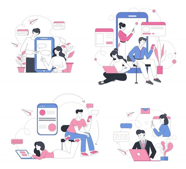 Online chatting illustrations set