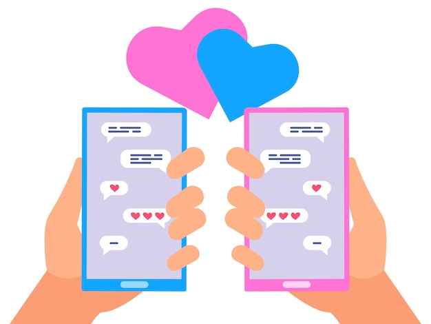 Online chatting people in love vector concept
