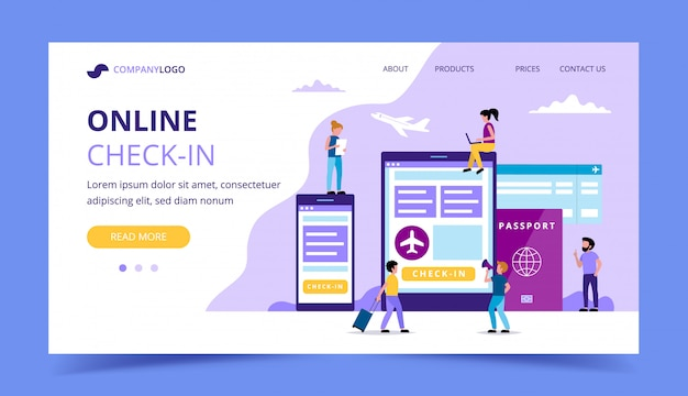 Online check-in landing page, concept illustration with smartphone