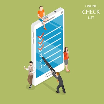 Online check list flat isometric vector concept.