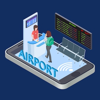 Online check-in service, mobile app isometric