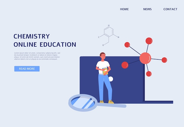 Online chemistry education banner science website template with student
