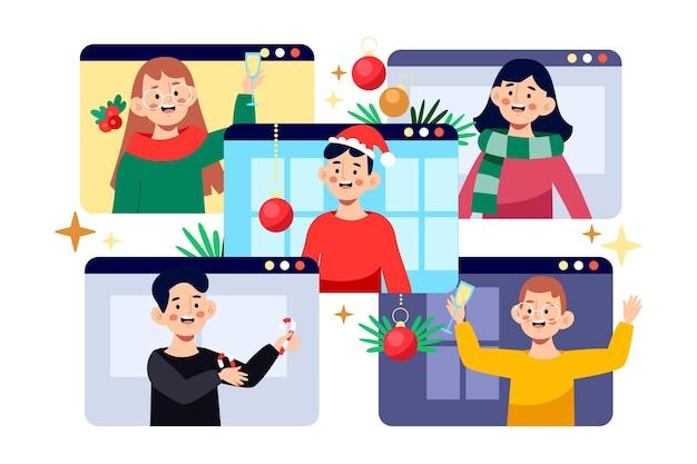 Illustrazione in linea di celebrazione di natale