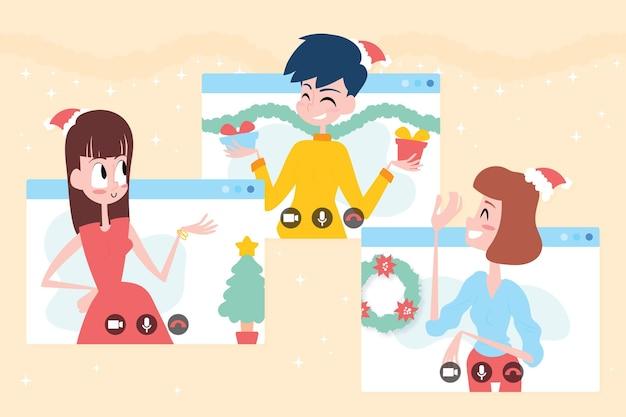 Иллюстрация празднования рождества онлайн
