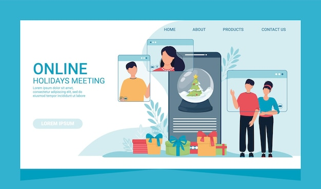 Online christmas celebration landing page and people phone screen. vector illustration of computer and smartphone screens with people. christmas banner online dating winter holiday celebration.