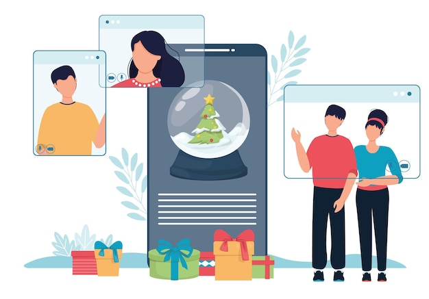 Online christmas celebration snow globe and people phone screen. vector illustration of computer and smartphone screens with people. christmas snow globe online dating winter holiday celebration.