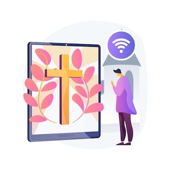 Illustrazione di vettore di concetto astratto chiesa online. chiesa internet, attività religiose, preghiera e discussione, predicazione, servizi di culto, stare a casa, metafora astratta di allontanamento sociale.