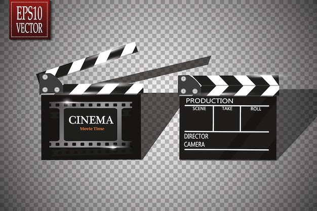 Online cinema background with movie reel and clapper board