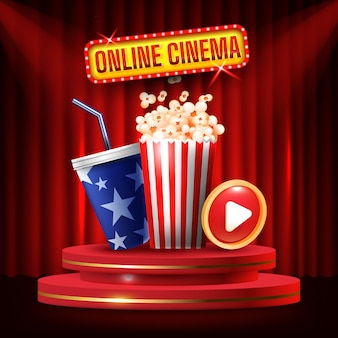 Online cinema banner, movie time with popcorn