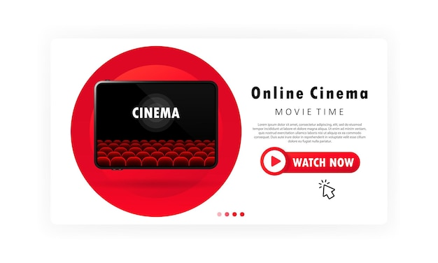 Баннер онлайн-кинотеатра или время фильма и просмотр фильма на шаблоне планшета