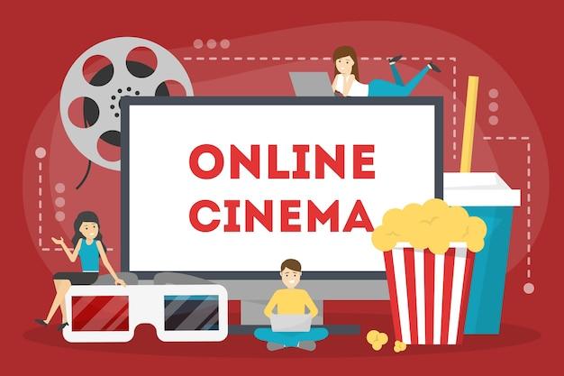 Концепция онлайн-кинотеатра. развлечения дома с попкорном