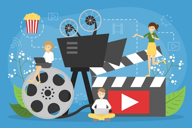 Online cinema concept. entertainment at home with popcorn