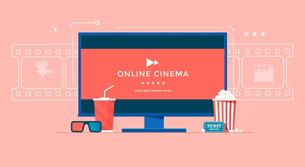 Online cinema concept with tv, popcorn and 3d glasses.
