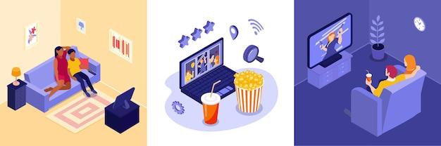 Online cinema illustration set