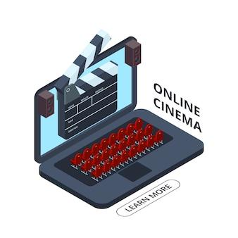 Изометрические значок онлайн кино. иллюстрация домашнего кинотеатра