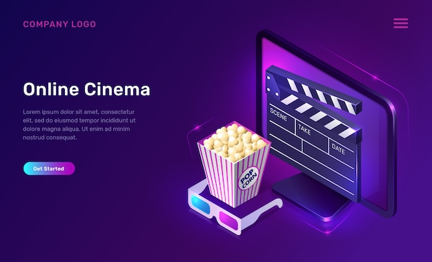 Online cinema or movie, isometric concept