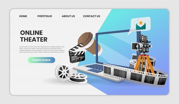 Онлайн-кинотеатр на ноутбуке на веб-сайте или в концепции мобильного приложения маркетинг и цифровой маркетинг, изображение героя для целевой страницы.