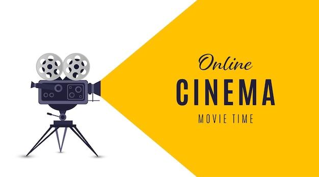 Online cinema poster or background movie poster vector illustration Premium Vector