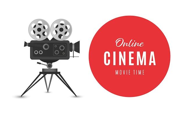 Online cinema poster or background movie poster vector illustration