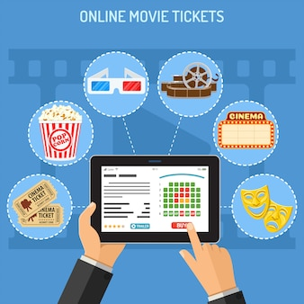 Online cinema ticket order concept