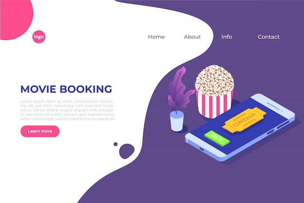 Онлайн бронирование билетов в кино изометрической концепции. мобильное приложение. иллюстрация
