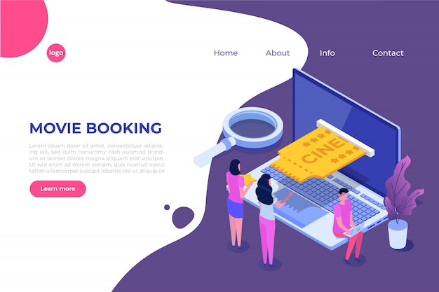 Online cinema tickets booking isometric concept. mobile app.  illustration