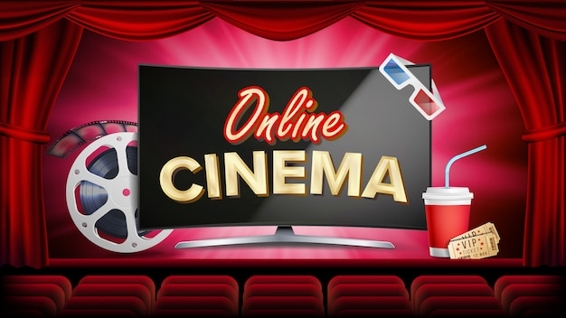 Online cinema vector. banner with computer monitor. red curtain. theater, 3d glasses, film-strip cinematography.