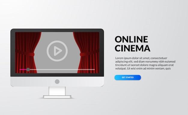 Онлайн-кинотеатр, потоковое видео и фильмы с помощью концепции домашнего устройства. экран рабочего стола компьютера с красной сценой занавеса и кнопкой значка воспроизведения. иллюстрация целевой страницы