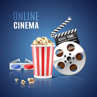 For online cinema with popcorn, filmstrip and  glasses.