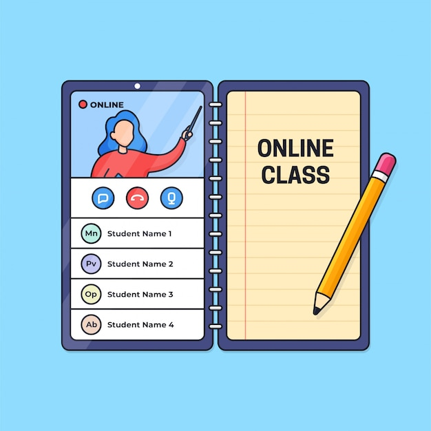 Online class distant education live video call activity from smart phone with paper note and pencil outline illustration.