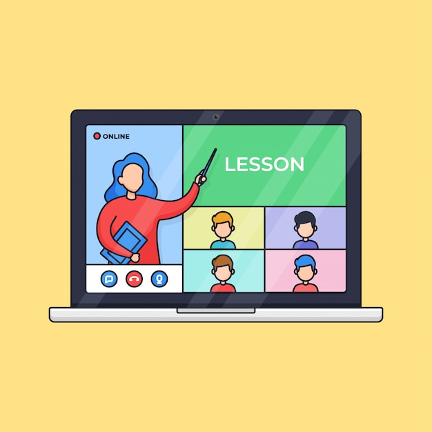 Online class distant education live video call activity teacher and students from laptop outline illustration