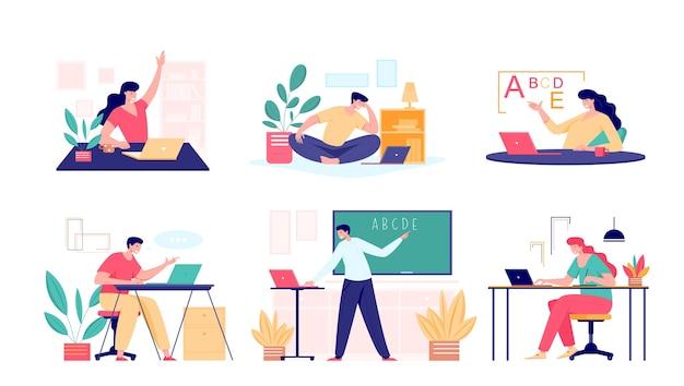 オンラインクラスはコンセプトを満たします。男性と女性の学校の先生、大学の家庭教師のコーチまたは教室で話している学生。バーチャルティーチングリモートクラスオンラインレッスン