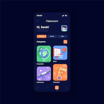 Online classes night mode smartphone interface vector template