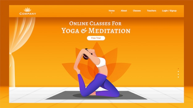 Online classes for yoga & meditation landing page  with faceless woman doing exercise in pirai asana pose.