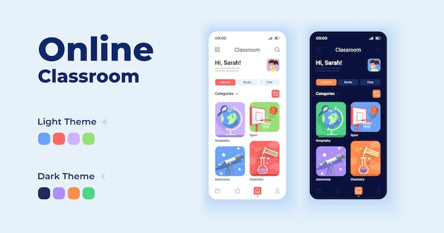 Online classroom cartoon smartphone interface vector templates set. remote learning. mobile app screen page day and dark mode design. school ui for application. phone display with flat character