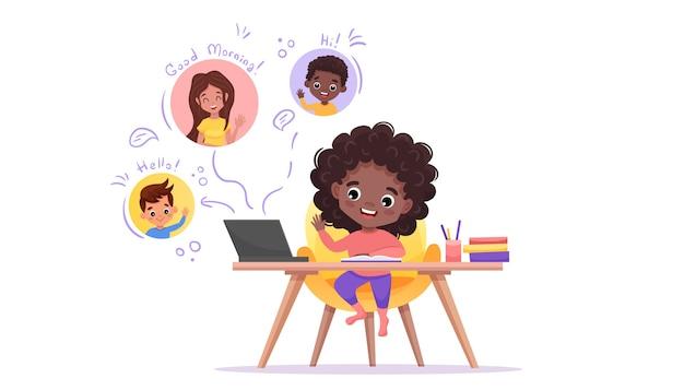 Онлайн-класс. электронное обучение и концепция социальной дистанции. афро-американская черная девушка смотрит на одноклассника